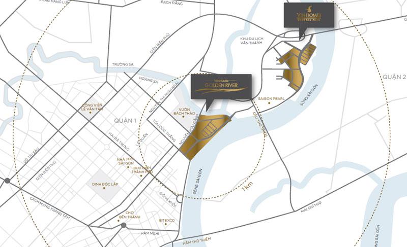 Dự án căn hộ Vinhomes Ba Son quận 1 nằm ngay vị trí kim cương độc tôn duy nhất