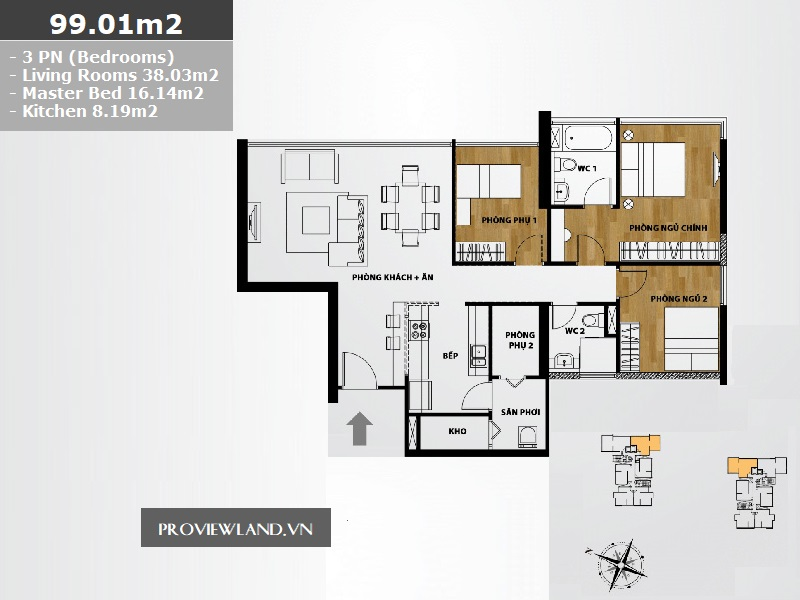 The Ascent layout apartment 3 bedrooms