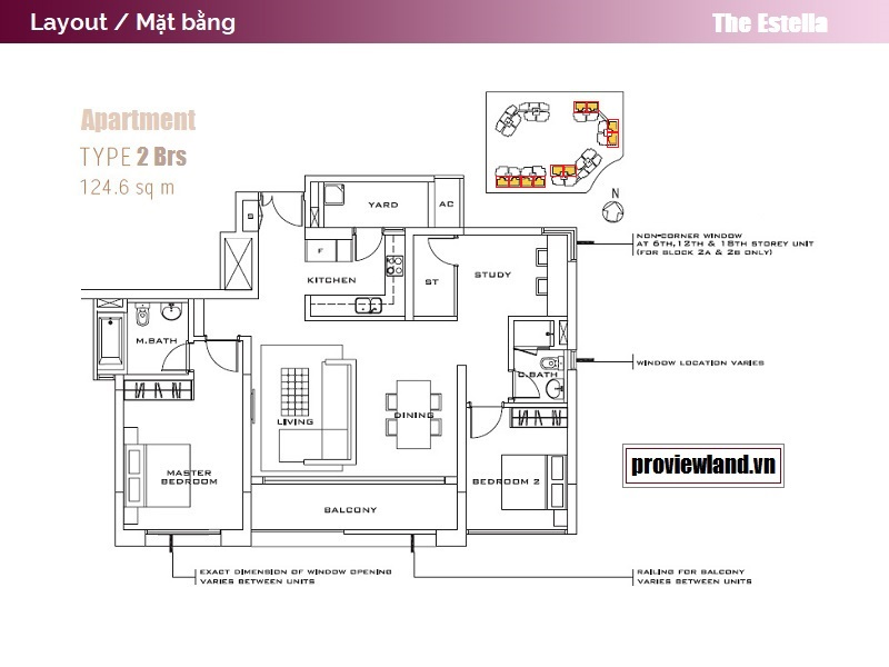The Estella An Phu layout apartment 2Bedrooms