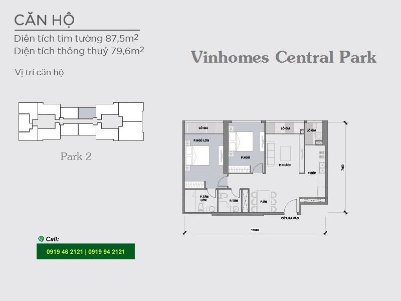 Vinhomes-Central-Park-Park2-layout-mat-bang-can-ho-2PN-87m2