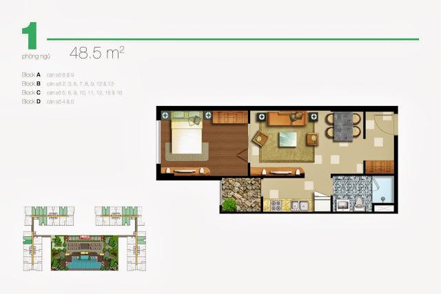 Cho thuê căn hộ Lexington Residence 48m2 1 phòng ngủ view thoáng mát