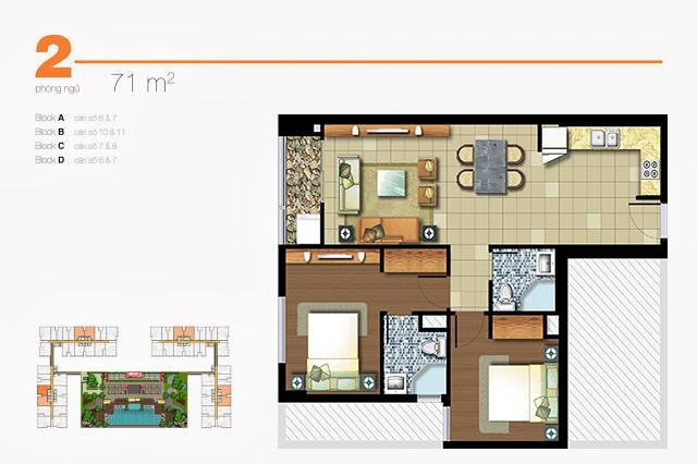 Căn hộ cho thuê Lexington 71m2 2 phòng ngủ nội thất đẹp lầu cao view xa lộ