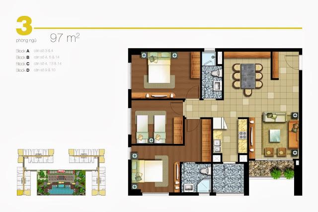 Căn hộ Lexington 3 phòng ngủ 97m2 nội thất cơ bản cần cho thuê