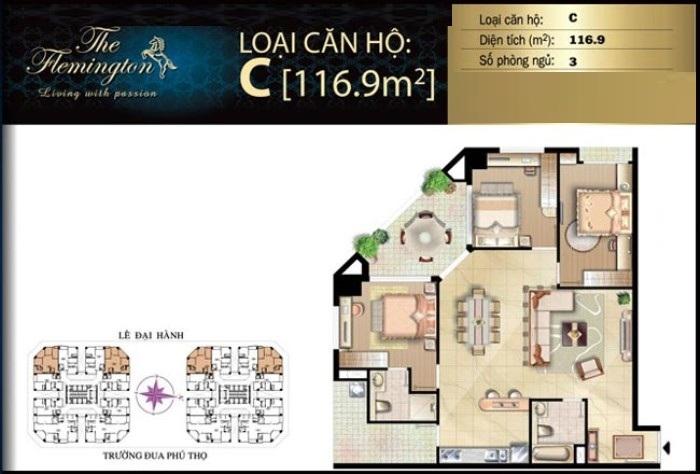 Bán căn hộ The Flemington 116m2 tầng cao 3 phòng ngủ view đẹp