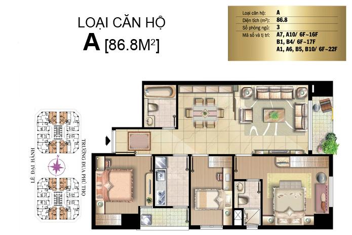 Cần bán gấp căn hộ The Flemington quận 11 88m2 2 phòng ngủ