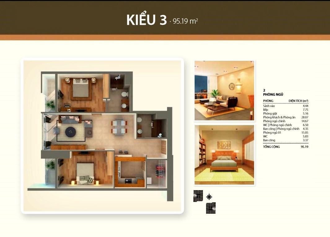 Bán căn hộ Thảo Điền Pearl quận 2 95m2 tầng thấp 2 phòng ngủ bếp mở