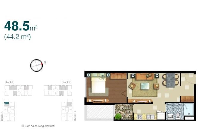 Cho thuê căn hộ Lexington block A tầng cao 48m2 1 phòng ngủ thiết kế đẹp và ấm cúng