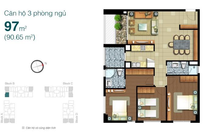 Bán căn hộ Lexington tầng cao 97m2 3PN view đẹp thiết kế thoáng đầy đủ nội thất