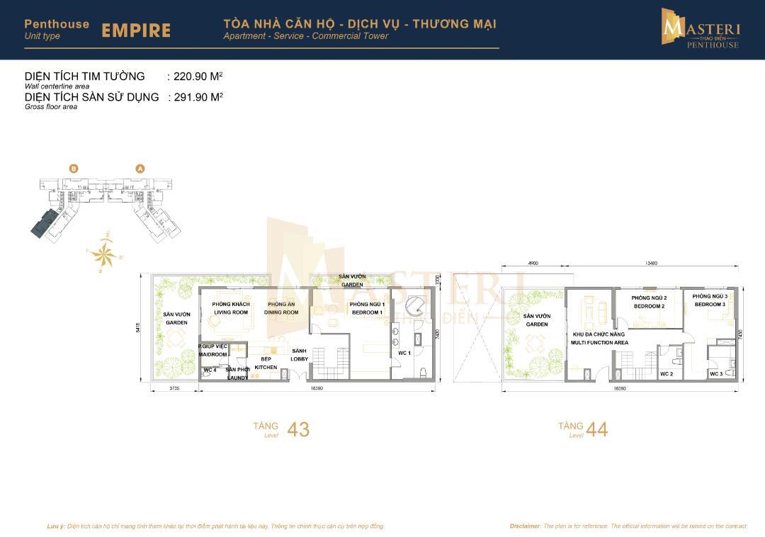 Bán căn Penthouse Masteri Thảo Điền Tháp T5 291m2 3PN có sân vườn riêng