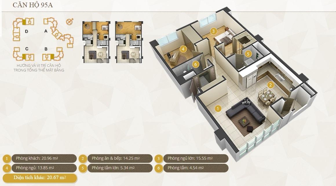 Bán căn hộ Imperia An Phú tháp C2 95m2 2 phòng ngủ có nội thất nhiều tiện ích