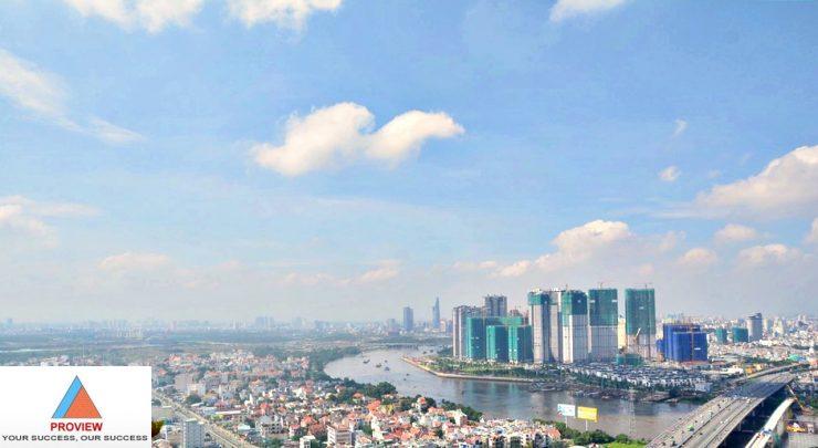 Cho thuê căn Penthouse Thảo Điền Pearl tầng cao DT 500m2 view sông