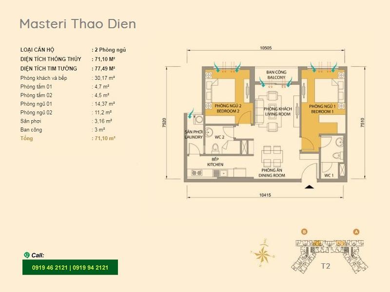 Masteri-Thao-Dien-mat-bang-layout-T2-2pn-71m2