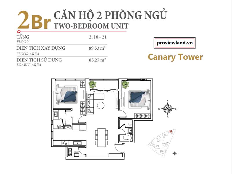 Mặt bằng căn hộ Diamond Island Canary 2 phòng ngủ