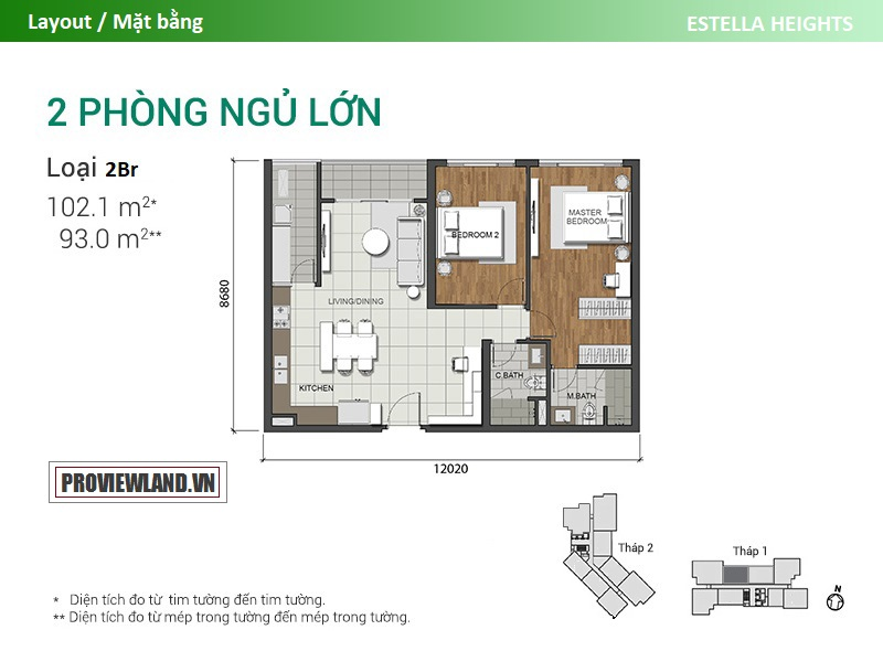 Mat bang Estella Heights T1 can ho 2PN lon