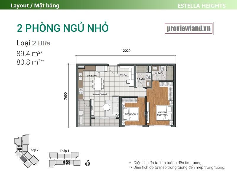Mặt bằng căn hộ Estella Heights 2 phòng ngủ T2