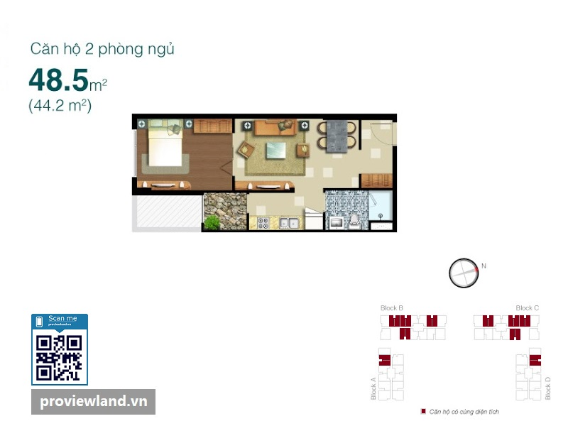 Mat bang Lexington Residence 1 phong ngu 48.5m2