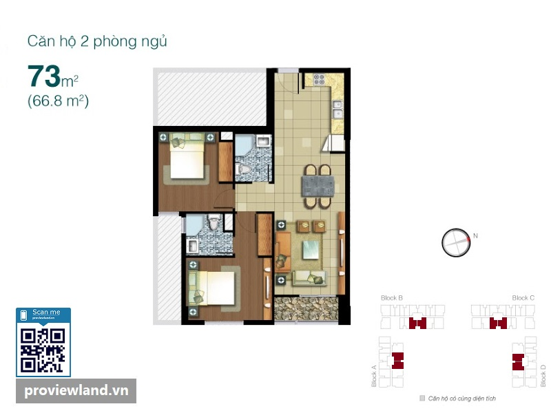 Mat bang Lexington Residence 2 phong ngu 73m2