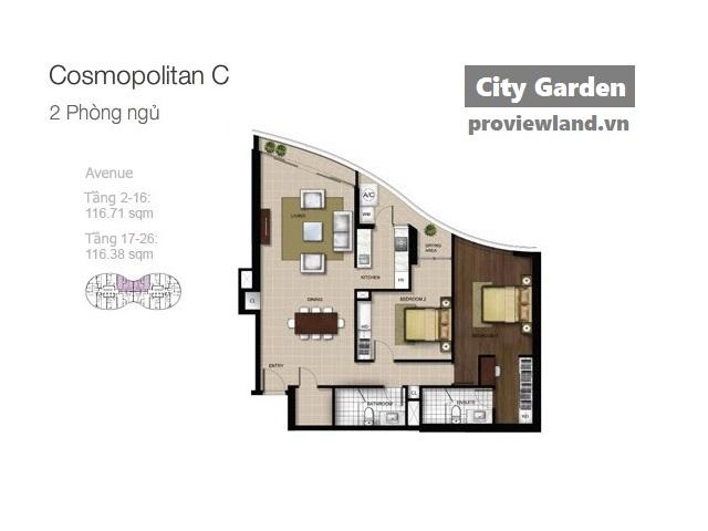 City Garden mat bang Boulevard Avenue 2pn 117m2