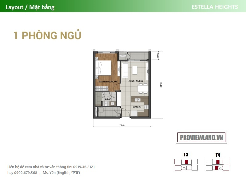 Mat bang can ho 1pn Estella Heights