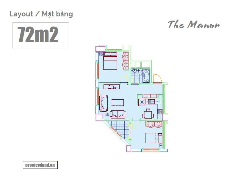 Mat bang can ho 2pn 72m2 The Manor Binh Thanh