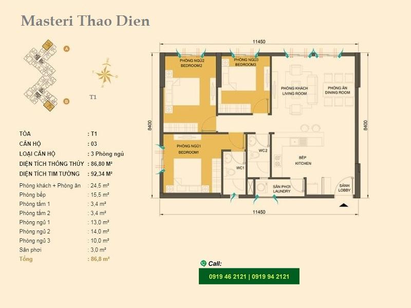 Masteri-Thao-Dien-mat-bang-layout-T1-3pn-92,34m2