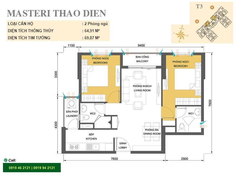Masteri-Thao-Dien-mat-bang-layout-T3-2pn-70m2
