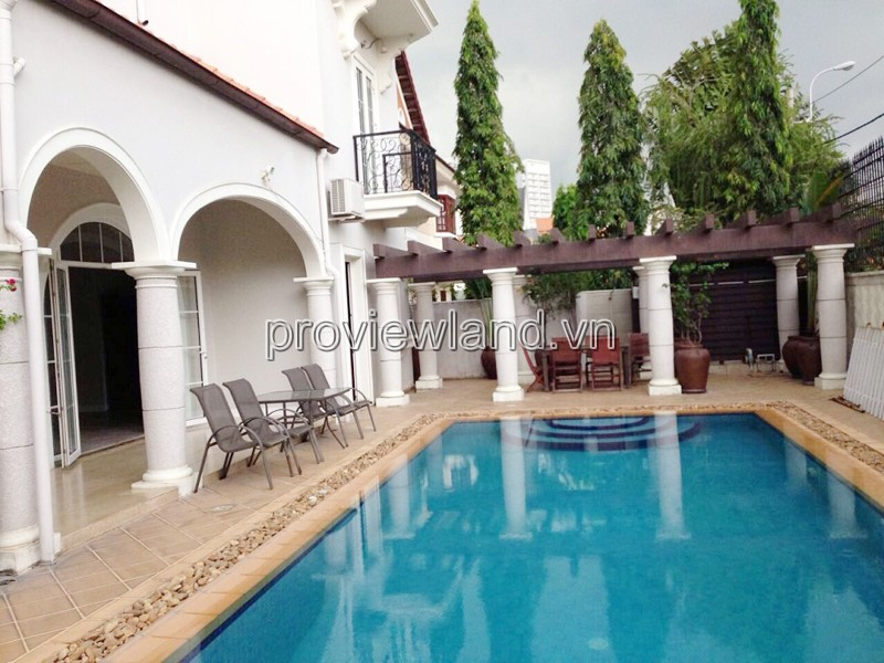 Villa for sale in Thao Dien Ward, compound area, area 614m2, 3 floors of garden + private pool
