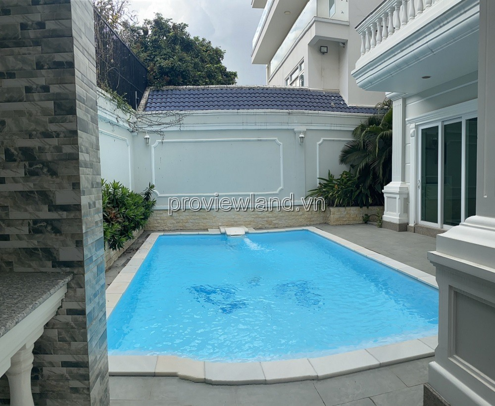 Villa for sale in Thao Dien compound area, 3 floors, 400m2, swimming pool + garage